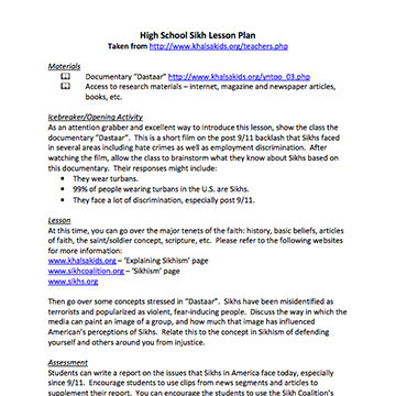 High School Sikihsm Lesson Plan - Sikh Coalition