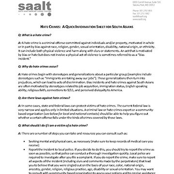 Hate Crimes: A Quick Information Sheet for South Asians by SAALT