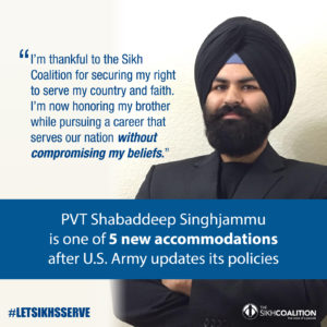 Army Client Shabaddeep receiving a religious accommodation by the US army