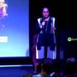 Sapreet Kaur speaking at Spotify in 2017.