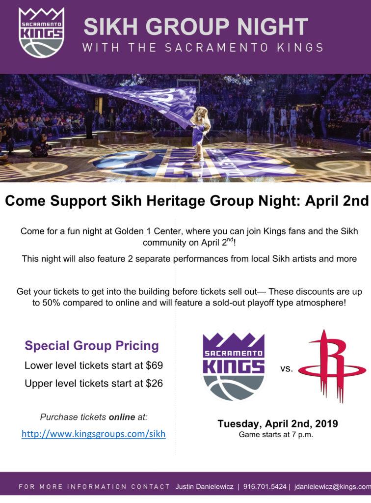 Sikh Awareness Night With Sacramento Kings April 2nd